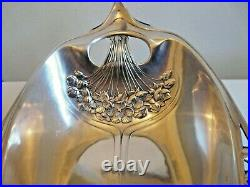 Coupe A Anse Bannette Metal Argente O. Gallia 4632 Fleurs Fruits Art Nouveau 1900