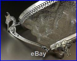 Coupe A Anses De Style Empire En Verre Granite Et Bronze Argente Debut Xx°