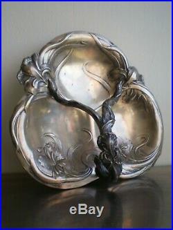 Coupe A Fruits Art Nouveau Victor Saglier Orfevre Decor 1900 Floral Iris Ancien