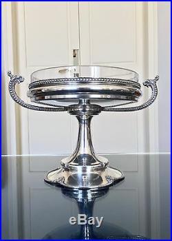 Coupe Art Déco compotier coupe à fruits en métal argenté et cristal