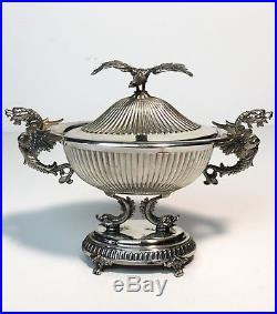 Coupe En Argent Massif Poinçon Sterling 925 À Décor D'un Aigle De 161grammes