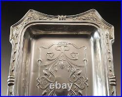 Coupe Jatte Art Nouveau Rectangulaire En Metal Argente Vers 1900