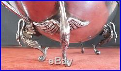 Coupe argent massif pieds cygne volatiles style art nouveau ou empire
