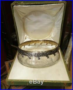 Coupe sangria saladier argent poincon minerve cristal taillé XIXe art nouveau