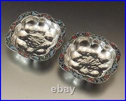 Coupelles A Caviar Argent Massif Email Cloisonne Enamel Cups Russie Vers 1900