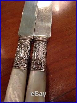 Couteaux Dessert Nacre Argent Massif Art Nouveau