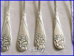 Couverts Poisson Art Nouveau Métal Argenté WMF Décor Lierre Couteaux Fourchettes