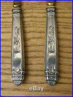 Couverts de Service à Poisson Art Nouveau en Argent Massif Silver Silber Muguet
