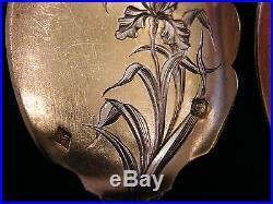 Cuillères à glace Art Nouveau en Argent Massif Décor d'Iris Silver Silber