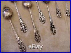 Cuillères à Café Art Nouveau Ajourées Argent Plaqué Boulenger Silver Silber