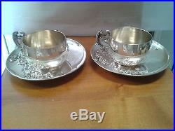 Deux Tasses Et Sous Tasses En Argent (minerve)art Nouveau