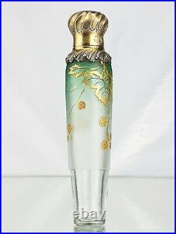 Daum Nancy Vase Flacon Décor Mûres Verre Gravé Émaillé Argent Art Nouveau