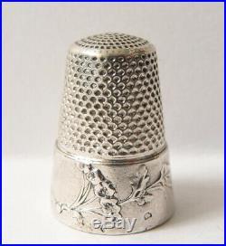 Dé à coudre ancien en ARGENT massif ART NOUVEAU vers 1900 thimble
