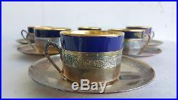E COMBEAU Service 6 Tasse + Soucoupe Cafe ARGENT Minerve Porcelaine Dore 1920's