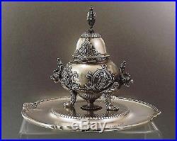 Encrier En Bronze Argente A Decor Chinoisant Fonte De Ferdinand Barbedienne