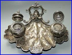 Encrier argent massif coquille art nouveau Koch & Bergfeld orfèvre Jugendstil