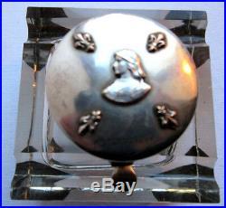 Encrier cristal + frise bronze argenté GUI, style Art Nouveau