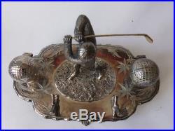 Encrier porte plume golf Art nouveau métal argenté (27507)