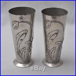 Ensemble De 2 Pièces Art nouveau Vases, étain plaqué argent, florales Décor relief
