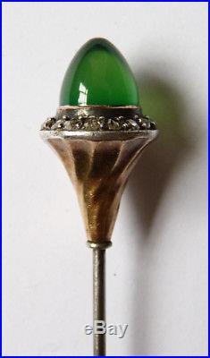 Épingle à chapeau argent + OR + roses diamants Vers 1900 silver pin ART NOUVEAU