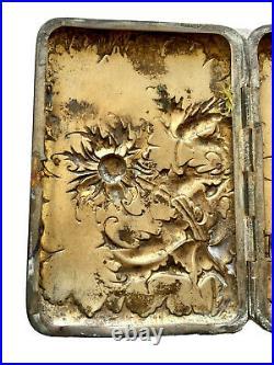 Étui à Cigarettes en Argent Massif Art Nouveau Jugendstil Décor Fleurs Chardons
