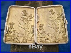 Étui à cigarettes et pyrogène art nouveau argent Quitte Prudent 1882