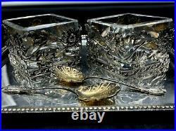 Exceptionnel et rare, salière, poivrière en argent massif ART NOUVEAU
