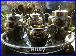 Exceptionnel et très rare service à café, thé en argent massif, Art Nouveau RUSSIE