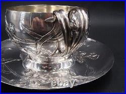 Exceptionnelle Tasse Et Sous Tasse En Argent Massif Poincon Minerve Art Nouveau