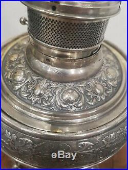 Exceptionnelle très grande lampe a petrole bronze argenté 1900 Art Nouveau