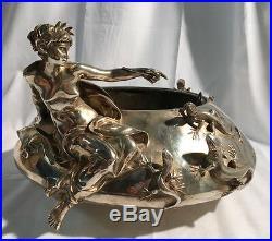 F. Barbedienne L. Ernest Barrias La Fee Aux Lezards Bronze Argente Art Nouveau
