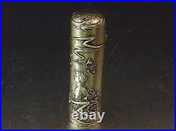 Flacon A Sels Art Nouveau En Argent Massif Vermeil Fin Xix° Siecle