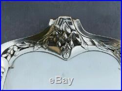 GALLIA ART NOUVEAU RARE PETIT PLATEAU AJOURE EN METAL ARGENTE 38.5x22cm