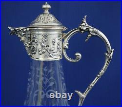 GALLIA CHRISTOFLE BACCARAT Aiguière Cristal et Métal Argenté Art-Nouveau ca 1900