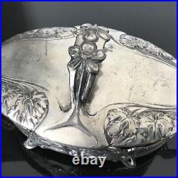 GALLIA RARE BOITE ART NOUVEAU 1900 en Métal Argenté Jugendstil Pot no Christofle