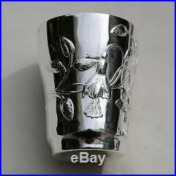 GRANDE TIMBALE EN ARGENT MASSIF ART NOUVEAU FLEURS Sterling Silver Cup 115 grams