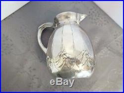 Gallia Art Nouveau Rare Pichet Carafe A Eau Metal Argente