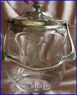 Gallia Seau / boîte à biscuits art nouveau fleurs cristal taillé & métal argenté