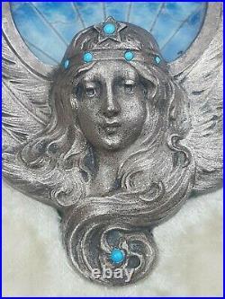 Georges FLAMAND Art Nouveau Grande médaille bronze argenté et verre émaillé