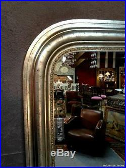 Glace / miroir de style Louis Philippe en bois argenté 138 x 110 cm