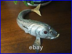 Grand Ancien Poisson Articulé Argent Massif Espagne 250g 35cm Silver Fish Spain