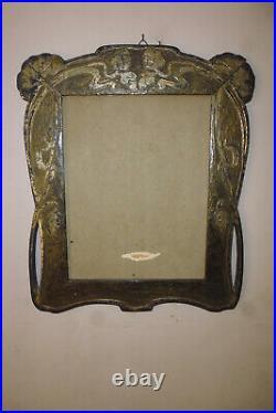 Grand Cadre porte photo Art Nouveau bois sculpté noir et argenté 20.5x26 cm