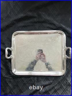 Grand Plat De Service Métal Argenté Christofle Monogrammé Art Nouveau Silverware