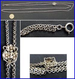 Grand Sautoir collier en argent massif avec coulant ART NOUVEAU silver chain