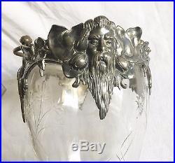 Grand Seau à Glace Art Nouveau Métal Argenté Poinçon WMF Cristal Gravé Glaçons