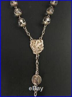 Grand chapelet cristal argent vermeil Art Nouveau Antique crystal silver rosary