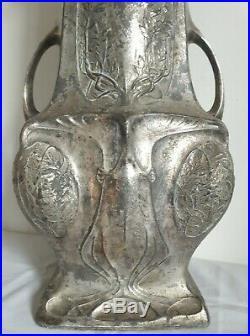 Grand vase métal argenté 1900 Art Nouveau Jugendstil (58,5 cm)
