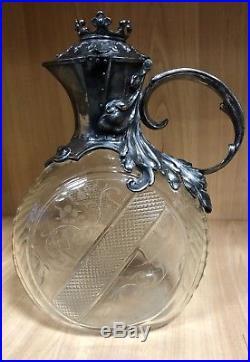 Grande Aiguière Carafe WMF Art Nouveau en Cristal Taillé et Métal Argenté XIX èm