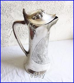 Grande Chope Aiguière Art Nouveau Métal Argenté GALLIA CHRISTOFLE 38 cm Pichet