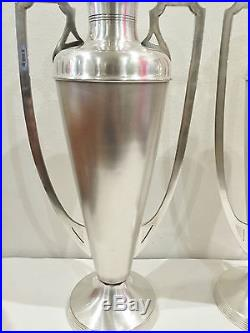 Grande Paire Vase Métal Argenté Poinçonné Art Nouveau 41,5 Haut Amphore Ancien